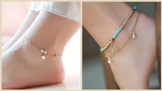 Trendy Feet Jewelry Designs // Gold And Silver Anklets Collection