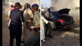 Images exclusives : Regardez le Président Macky Sall sortir de son véhicule en feu !