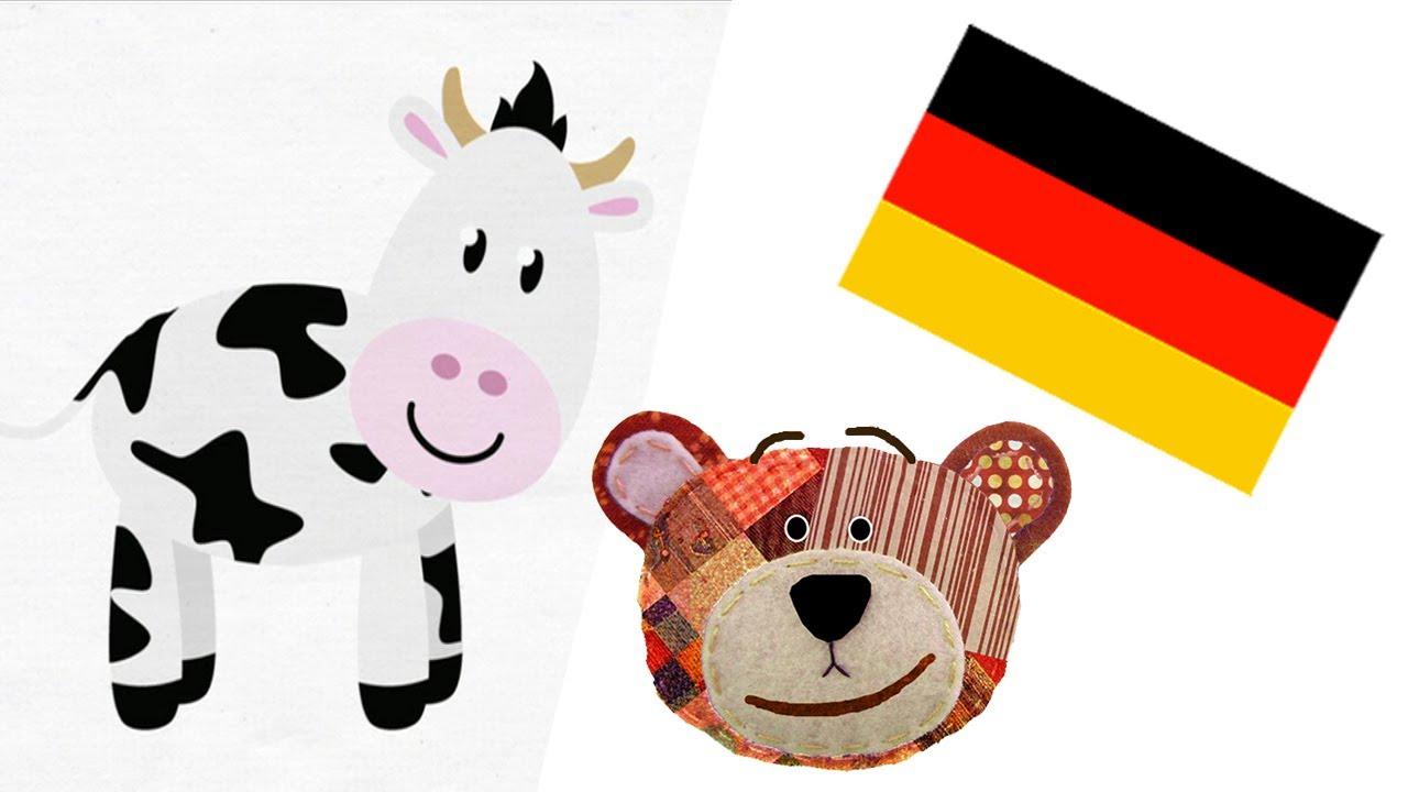 Los animales de la granja en alemán para niños