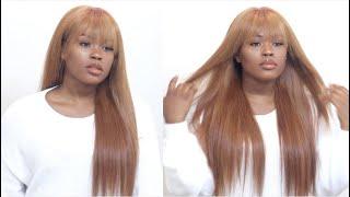 How To | Strawberry Blonde & Wispy Bangs Wig Ft Nadula Hair