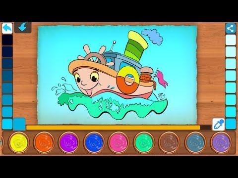 Раскраска для Малышей Машинки, Кораблики, Самолётики. Coloring Funny transport
