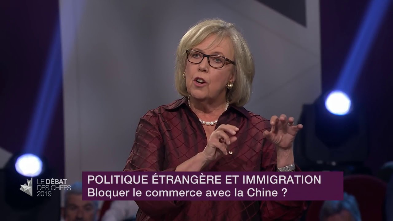 Elizabeth May answers a question about relations with China