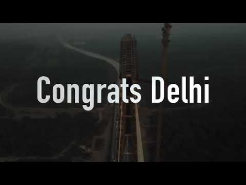 Aerial view of the Signature Bridge inaugurated by Delhi CM Arvind Kejriwal