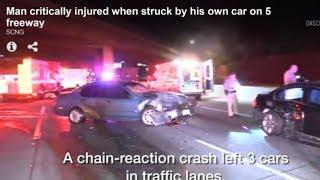 Một ông bị chính xe mình tông vào trên xa lộ 5 Santa Ana