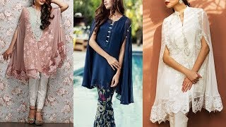 Beautiful Pakistani Cape Dresses With  Unique Long Sleeves Patterns