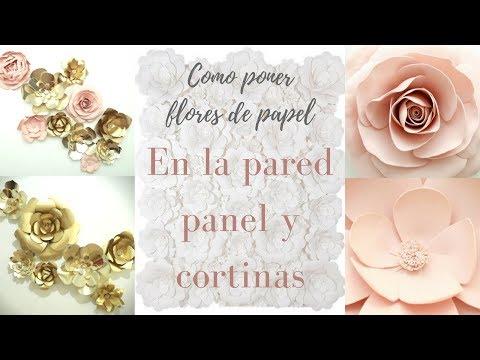 COMO PONER FLORES DE PAPEL EN LA PARED, CORTINAS Y PANEL / Pabla en casa