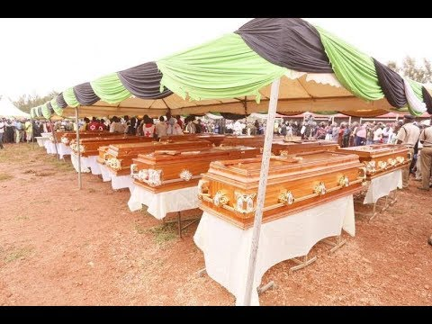 Friends gathered in Kakamega for a funeral service of victims who perished in the Fort Tenan