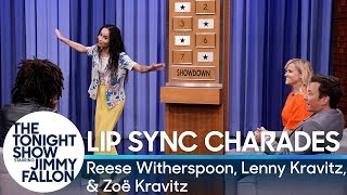 Jimmy and Reese Witherspoon compete against Lenny Kravitz and his daughter Zoë in a game of charades with a twist - they have to lip sync the clues as they act them out to get their partners to guess the names of popular songs.  Subscribe NOW to The Tonight Show Starring Jimmy Fallon: http://bit.ly/1nwT1aN  Watch The Tonight Show Starring Jimmy Fallon Weeknights 11:35/10:35c Get more Jimmy Fallon:  Follow Jimmy: http://Twitter.com/JimmyFallon Like Jimmy: https://Facebook.com/JimmyFallon  Get more The Tonight Show Starring Jimmy Fallon:  Follow The Tonight Show: http://Twitter.com/FallonTonight Like The Tonight Show: https://Facebook.com/FallonTonight The Tonight Show Tumblr: http://fallontonight.tumblr.com/  Get more NBC:  NBC YouTube: http://bit.ly/1dM1qBH Like NBC: http://Facebook.com/NBC Follow NBC: http://Twitter.com/NBC NBC Tumblr: http://nbctv.tumblr.com/ NBC Google+: https://plus.google.com/+NBC/posts  The Tonight Show Starring Jimmy Fallon features hilarious highlights from the show including: comedy sketches, music parodies, celebrity interviews, ridiculous games, and, of course, Jimmy's Thank You Notes and hashtags! You'll also find behind the scenes videos and other great web exclusives.  Lip Sync Charades with Reese Witherspoon, Lenny Kravitz and Zoë Kravitz http://www.youtube.com/fallontonight  #FallonTonight #JimmyFallon