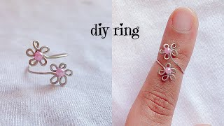 Diy Ring/how To Make Simple Wire Flower Ring/wire Wrapped Adjustable Ring/cute Toe Ring