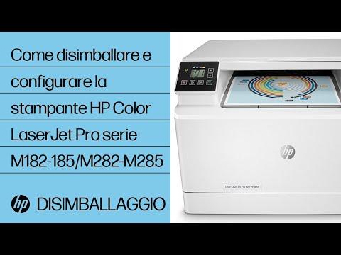 Come disimballare e configurare la stampante HP Color LaserJet Pro delle serie M182-185 e M282-M285
