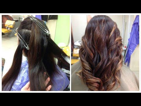 Балаяжна темные окрашенные волосы // Balayage tutorial