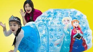Suri Pretend Play W/ Disney Frozen Princess Elsa & Anna Inflatable Igloo Ballpit Toy