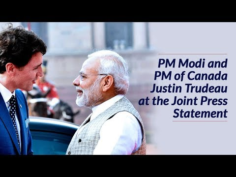 PM Modi and PM of Canada Justin Trudeau at the Joint Press Meet