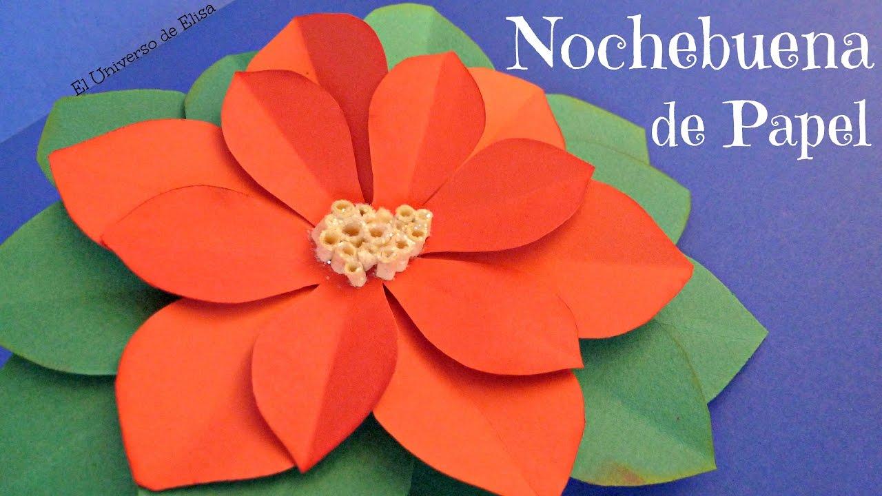 Cómo hacer una Nochebuena de Papel, flor de Pascua de Papel, Ponsetia de Papel, Flor de Navidad