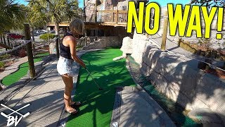 SHE HAS NEVER DONE THIS AT A MINI GOLF COURSE BEFORE! - INSANE HOLE IN ONE!