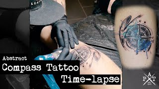 Abstract Watercolor Compass Tattoo - Time-lapse