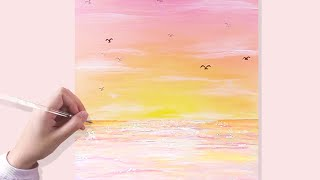 EASY ACRYLIC PAINTING TUTORIALS FOR BEGINNERS | Painting Pink Sky Sunset & Ocean With Acrylic