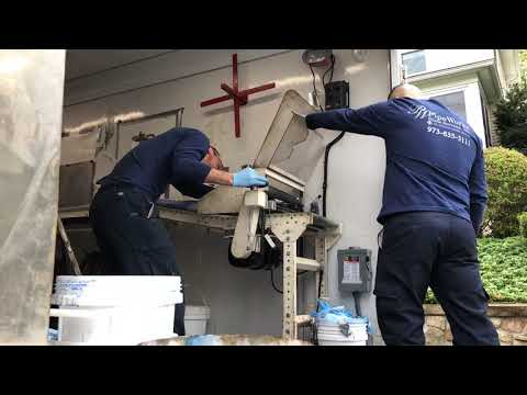 Our technicians mix the 2 part resin for a broken sewer job in Summit, NJ. Once the resin is mixed you have a limited amount of time to insert it into the broken sewer line.