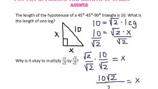 8-2: Special Right Triangles