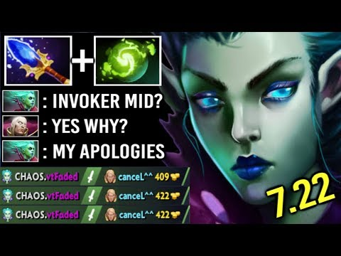 NEW CANCER HERO To COUNTER Invoker Mid! 7.22 Scepter DP 100% Slow Can't Stop x3 Exorcism WTF Dota 2