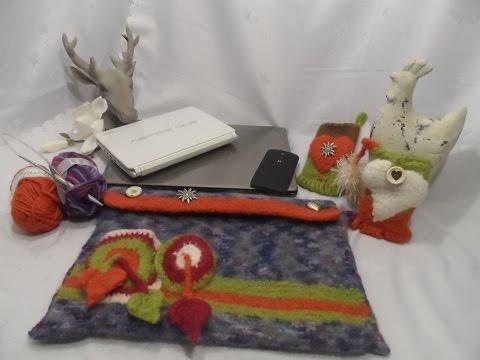 DIY: FILZ Notebook/Laptoptasche TASCHE;Schultertasche selber stricken und filzen
