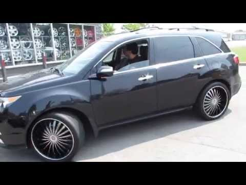 HILLYARD RIM LIONS 2012 ACURA MDX RIDING ON 22 INCH BLACK & MACHINED CUSTOM RIMS