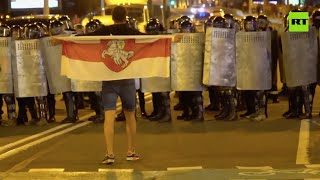 Election Night | Violent clashes between Belarus protesters & riot police after presidential vote