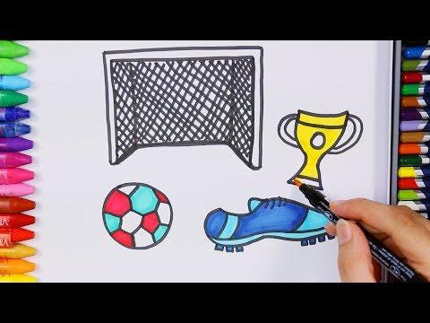 Wie zeichnet man Fußballschuh   Wie man Fußballausrüstung zieht   Zeichnen und Ausmalen für Kinder