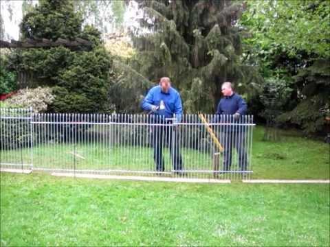 Aufbau vom Garten-Steck-Zaun anneau-engmaschig-115-verzinkt