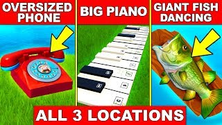 """VISIT AN OVERSIZED PHONE, A BIG PIANO AND A GIANT DANCING FISH TROPHY"" ALL LOCATION FORTNITE WEEK 2"