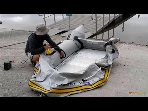 Tips + Tricks launching AL hard floor inflatable boat with the DIY transom launching wheels.