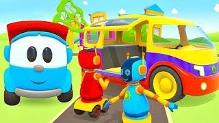 Minivan para os Robôs. Léo o caminhão  curioso. Desenhos animados para crianças.