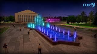 Фонтаны на центральной площади Талдыкоргана