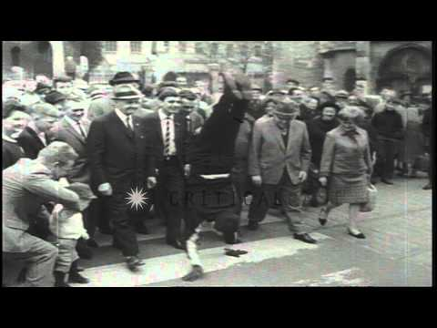 Lucky Hofmaier walks on his hands from Rosenberg to Rome HD Stock Footage