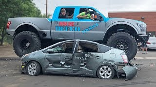 GIGANTIC Ford Truck DESTROYS Prius & Infinity G35!