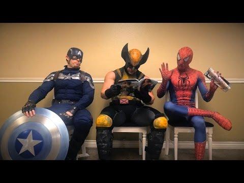 Superhrdinská čekárna: Kapitán Amerika, Spider-Man a Wolverine