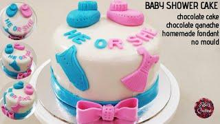 Baby Shower Cake | Chocolate Ganache | Homemade Fondant | No Mould
