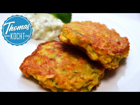 Zucchini Bratlinge mit Gurken-Joghurt-Dip (Raita) / Thomas kocht
