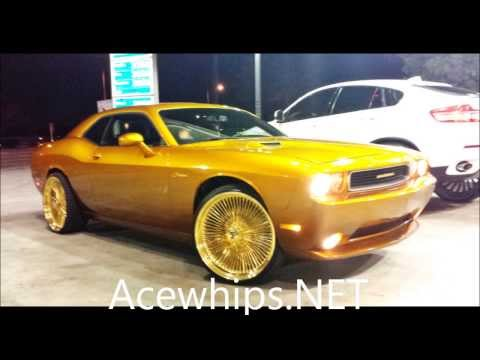 "Acewhips.NET- Candy Gold Dodge Challenger On 24"" GOLD DAYTON Rims Mp3"