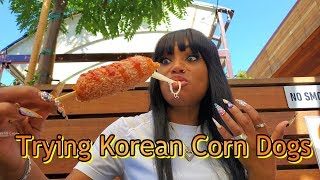 Trying Korean Mozzarella Corn Dogs For The First Time