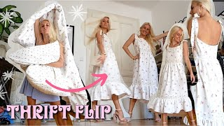 aus der ausgemisteten Bettwäsche meiner Mitbewohnerin wird ein neues Sommerkleid! THRIFT FLIP