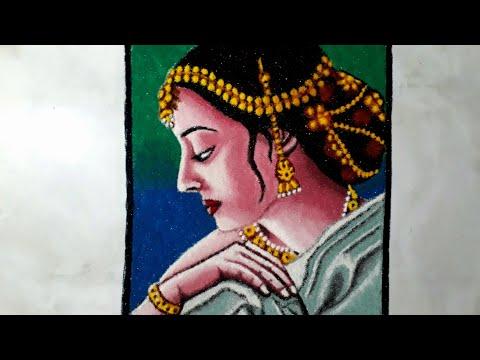portrait rangoli design of a beautiful girl by mita
