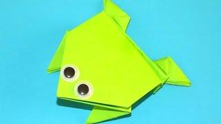 Прыгающая лягушка из бумаги  Оригами из бумаги