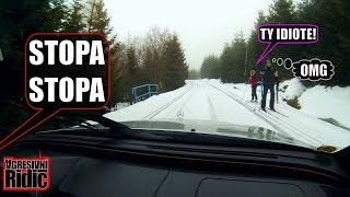Aggressive Driver on a Cross-country skiing trail, Angry skiers, Dashcam