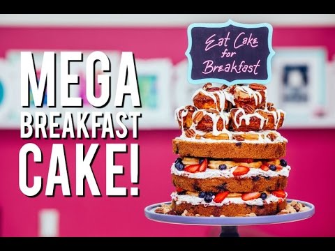 How to Make a MEGA BREAKFAST CAKE! With Easy To Make Cinnamon Rolls