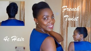How To Style Natural Hair Into A French Twist   4C Hair   Elegant Protective Style (2018)