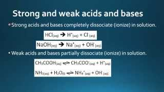 8.3.3 Distinguish between strong and weak acids and bases