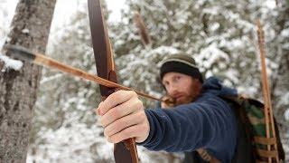 Primitive Longbow Rabbit Hunt ASMR (Silent)   Stone Arrows , Bushcraft Shelter Build, Fire Cooking