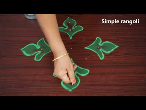 Simple and Easy Rangoli for beginners | Easy Kolam With 7x1 dots | Muggulu