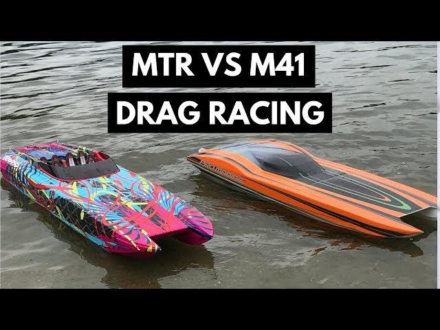 RC Boat Drag Racing - Traxxas M41 Vs ProMarineRC MTR